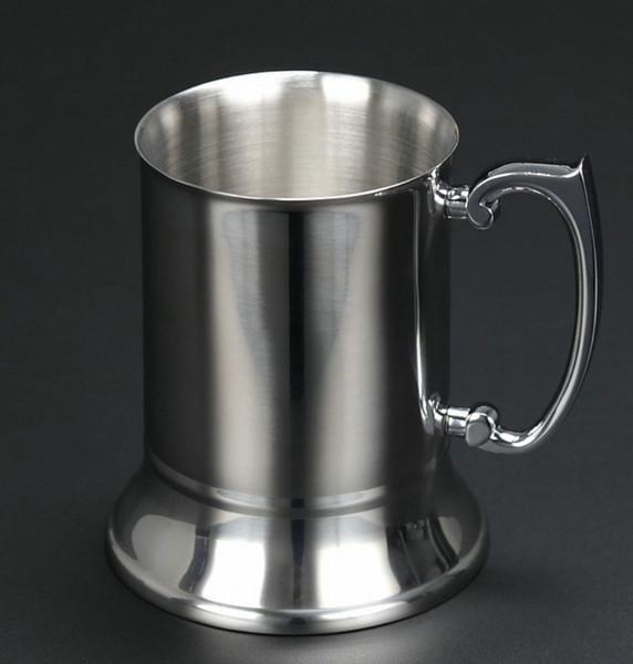 304 Stainless Steel mug Double Wall Stainless Beer Mug Cocktail Breakfast Milk Mugs with Handgrip Coffee Cup Bar Tools Drinkware KKA7519