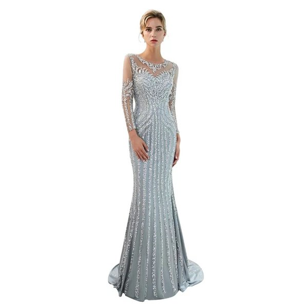 Dubai 2Luxury Sparkly 2019 Royal Wedding Dresses Sexy Bling Beaded Lace Applique High Neck Illusion Long Sleeves Mermaid Bridal Gowns