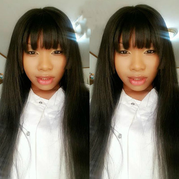 150% Density Glueless Lace Front Human Hair Wigs Pre Plucked Hairline Brazilian Remy Hair Straight Full Lace Wigs With Baby Hair With Bang