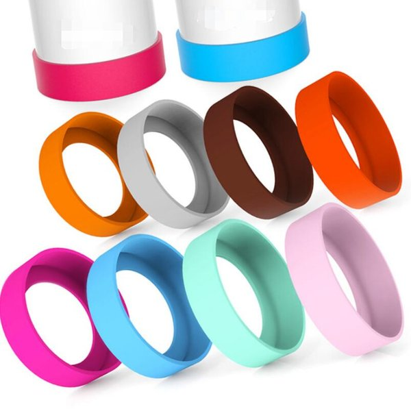 silicone sleeve cover for water bottle cups bottom protection 7-8cm multi colors mats cover for mugs LX5897