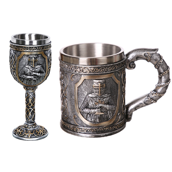 1pcs 304 Stainless Steel Coffee Mug Viking Skull Beer Steins Gift For Men Father's Day Gifts Halloween Bar Home Decoration Q190430