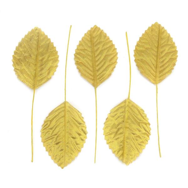 36pcs 11cm Nylon Silk Leaf Gold Leaves Artificial Flower For Wedding Decoration DIY Wreath Gift Scrapbooking Craft Fake Flower