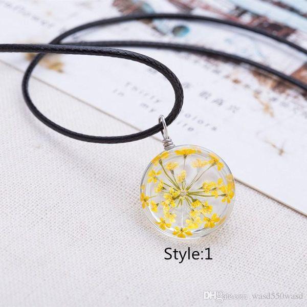 Nouveaux colliers femmes populaires colliers de temps pierres précieuses boule de cristal colliers fleurs séchées pendentifs colliers livraison gratuite
