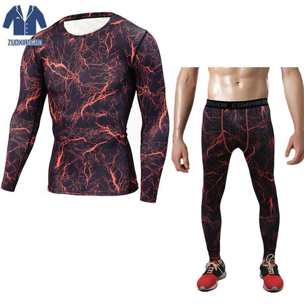 Fitness Men Sets Tactical Camouflage Compression Shirts Leggings Base Layer Crossfit Long Sleeve T Shirt Clothing Wear Jogginsg