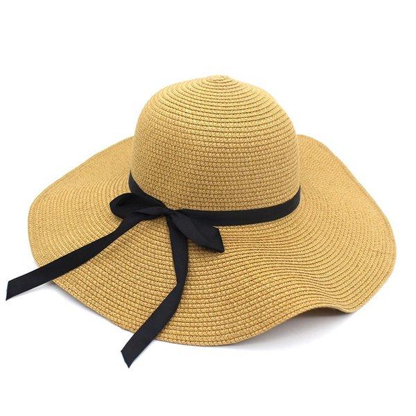 Sommer Strohhut Frauen Big Wide Brim Beach Hat Sun Faltbare Sun Block UV-Schutz Panama Bone Chapeu Feminino