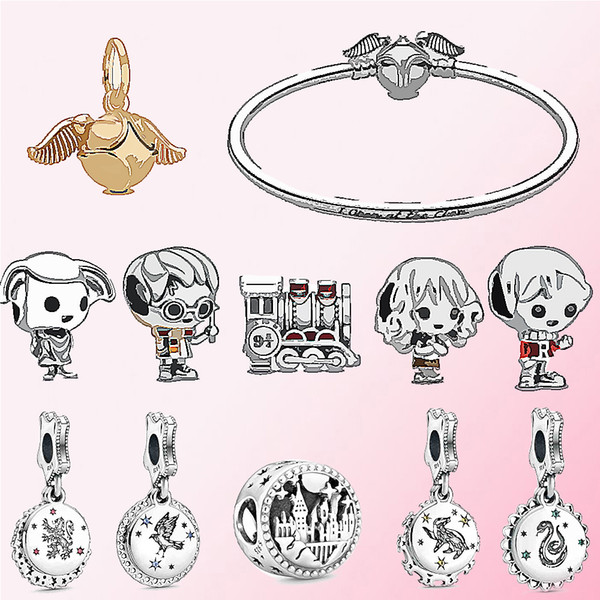 QANDOCCI 925 Silver School of Witchcraft and Wizardry Train House Elf Bead Moments Golden Snitch Clasp Bangle Dragon snake eagle