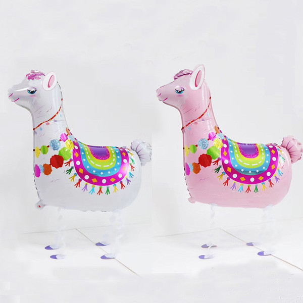 Nouveau Lama alpacos Balloon Cartoon Animal Dinosaure Marche Ballons Pour Animaux De Compagnie Ballons Rose et blanc alpaga Aluminium Pour La Fête D'anniversaire Décoration