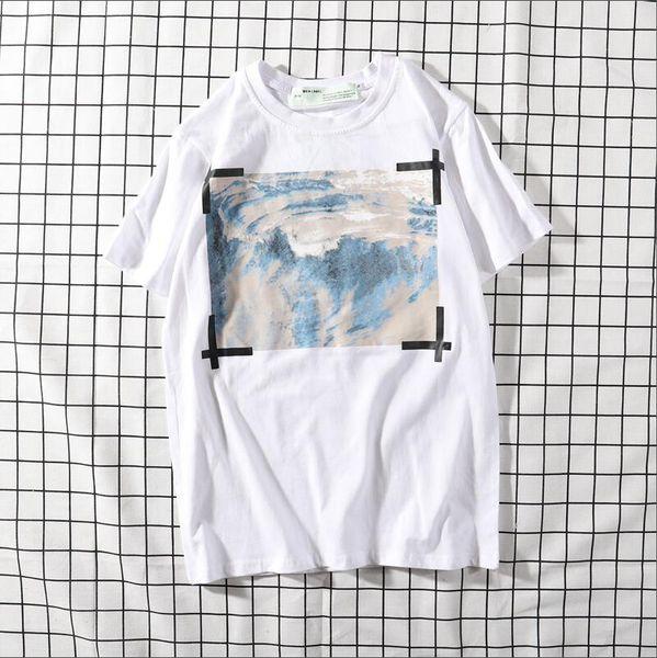 Manera simple de los hombres T-shirt Camiseta manga corta impresa O-cuello T-shirt con Pure Alphabet 252154