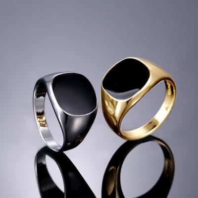 best selling Fashion Simple Drip Oil Black Rings For Women Men Male Silvery Gold Color Ring Wedding Party Gift Jewelry Accessories Wholesale Bagues Femme