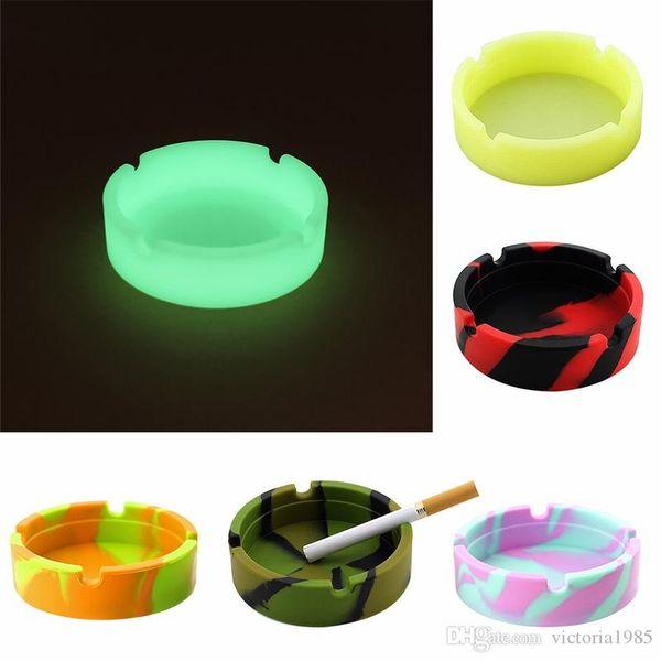 Smoking Accessories Silicone Soft Round Ashtray Ash Tray Holder PLuminous Portable Anti-scalding Cigarette Holder Multicolor Eco-Friendly