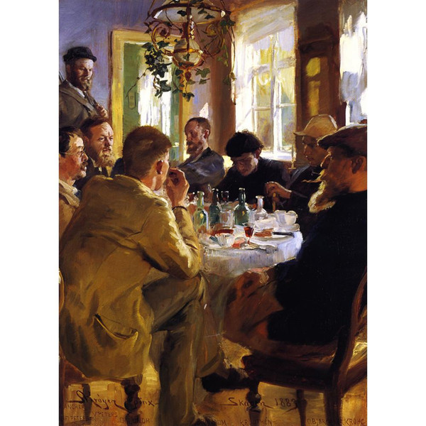 Hand painted Peder Severin Kroyer oil paintings Artists Luncheon in Skagen Impressionism art for wall decor