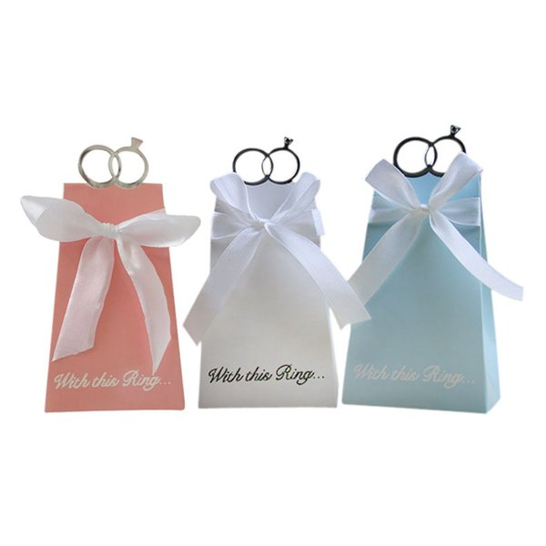 100pcs Favor candy Box bag New craft paper ring Shape Wedding Favor Gift Boxes Party Box bags for Guest