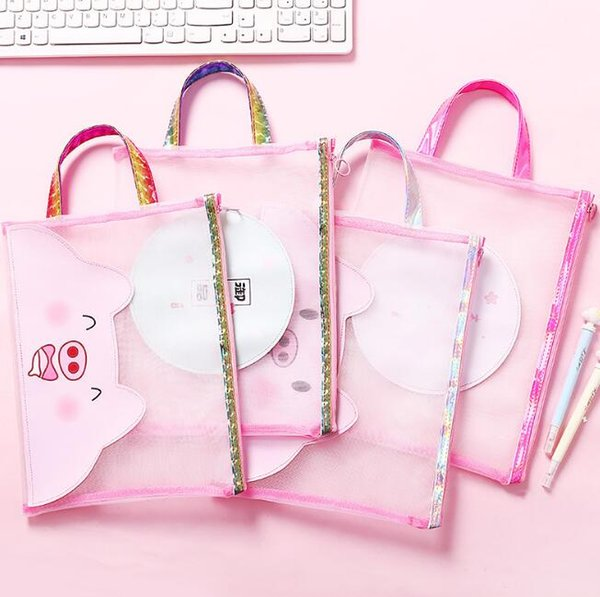 cute cartoons pink laser pigs file holder portable zipper nylon mesh document bags office school supplies