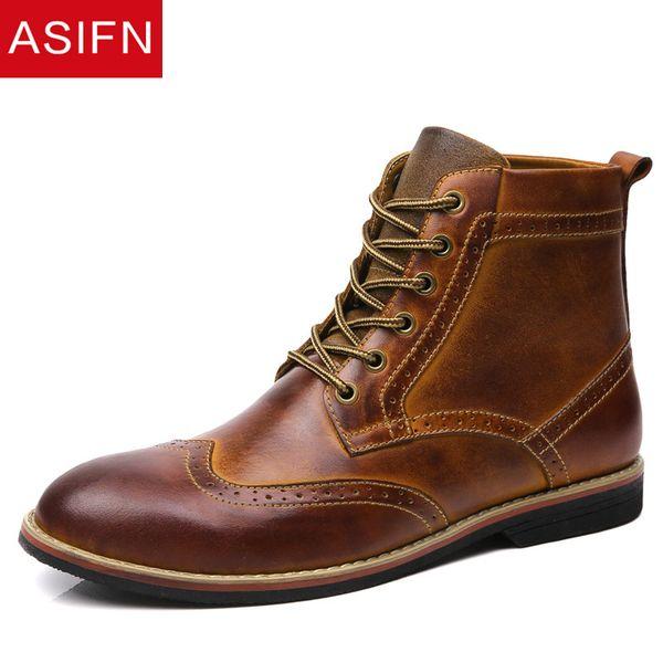 ASIFN Erkek Deri Çizmeler Ton Hakiki Deri Ayakkabı Rahat Erkek Brogue Sonbahar Kış Ayak Bileği Resmi Elbise Oxford Çöl Botları Adam