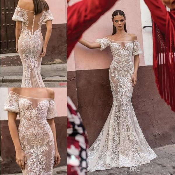Berta 2019 New Bohemian Wedding Dresses Off Shoulder Backless Short Sleeve Lace Bridal Gowns Sweep Train Beach Wedding Dress Robe De Mariee