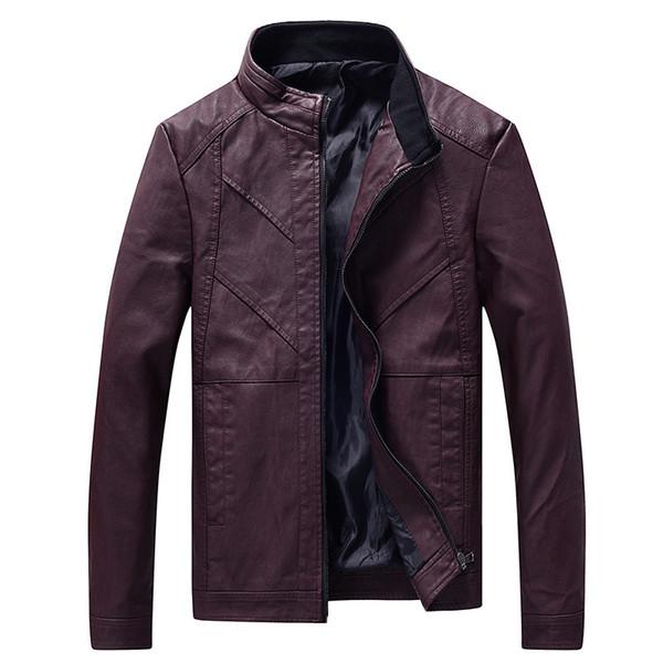 Gute qualität 2019 nagelneuen männer jacken freizeit gewaschen motorrad leder pu leder kragen mantel für männer jacke mantel