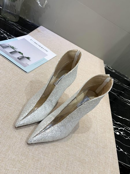 Tasarım yüksek topuklu - Avrupa ve Amerika Birleşik Devletleri yeni sonbahar / kış 2019 şeffaf film dikiş ayak bileği botlar nefes yüksek topuklu moda