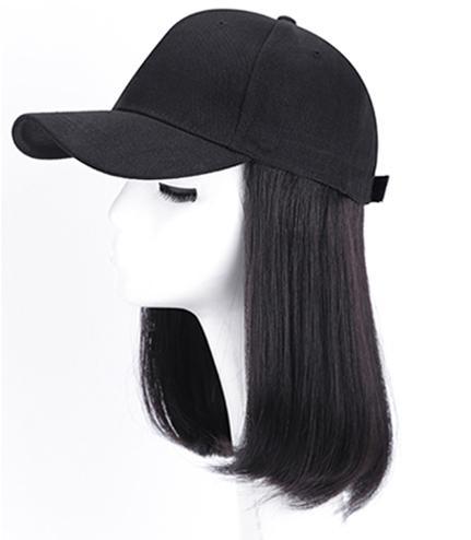 Baseballmütze Menschenhaar-Perücken für Frauen peruanischen Gerade Remy Hut Perücke Einstellbare Echthaar Perücke