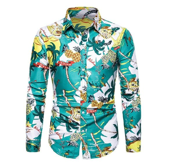 Los hombres visten camisas de manga larga impresos hombres moda Casual Slim Fit hombre camisa de negocios sociales suave marca cómoda de los hombres ropa tamaño S-4XL