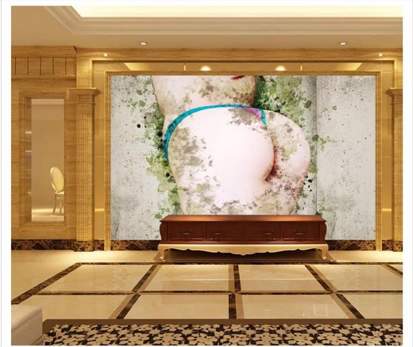 Papel de parede Custom 3d photo murals wall paper Hand painted big butt girl thong living room TV sofa background wall decoration