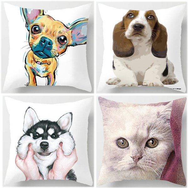 Husky Dog Tiger Lion Elephant Deer Cushion Covers 3D Animal Painting Pillow Cases 44X44cm Sofa Chair Decoration