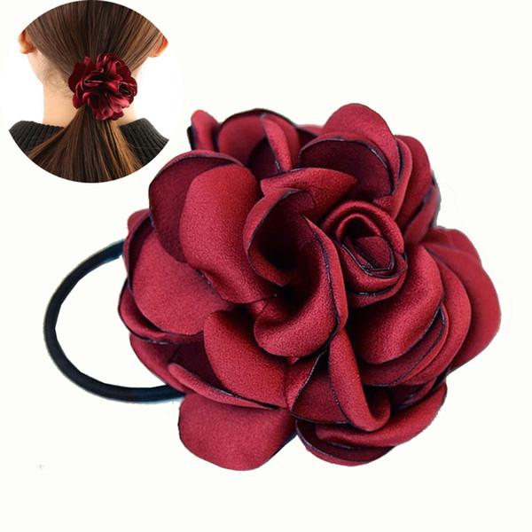1 Pc Women Girls Korean Style Big Rose Flower Hair Band Ponytail Holder Hair Rope Ladies Fashion Elegant Accessories
