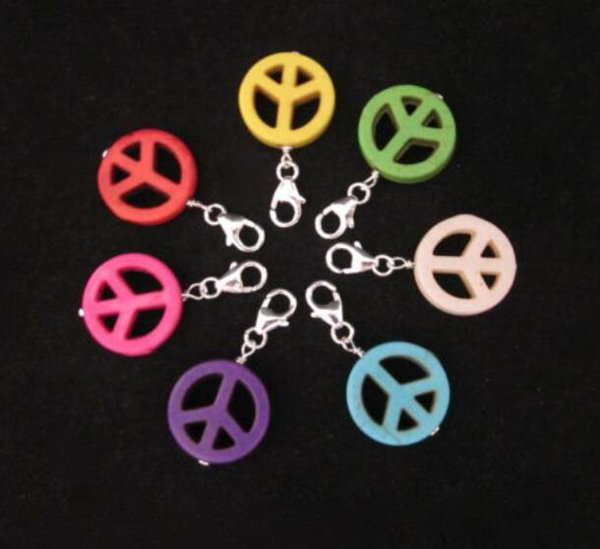 Mixed Color Symbol Stone Clip On Peace Sign Charms Pendants For Bracelets Keychain Fashion Jewelry Findings Accessories DIY Gifts NEW