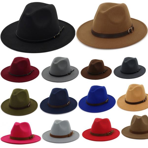 British Style TOP hats for men women Elegant fashion Solid felt Fedora Hat Band Wide Flat Brim Jazz Hats Stylish Trilby Panama Caps