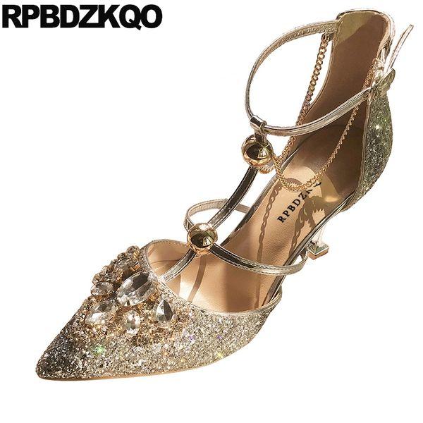 2019 rhinestone metal designer scarpin bling pointed toe glitter high heels shoes crystal pumps diamond stiletto silver ladies