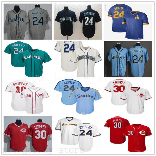 Stitched Vintage Mariners Ken Griffey Jr Jr. Jersey Teal Green 2016 Hall Of Fame Reds Seattle 30 Griffey Jr. Cincinnati Baseball Jerseys
