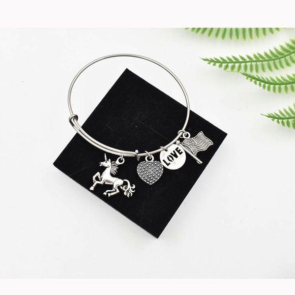 Hand Stamped Fashion Alloy 3D Unicorn Charm Bracelet 316L Stainless Steel Adjustable Wire Love Heart Flag Charm Alex Bangle Bracelet