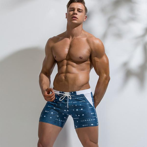 2019 Men Swimwear Sexy Swimming Trunks Boxer Beach Shorts Bathing Suit Trunks Swim Briefs For Men Boys Swimsuit Beachwear Sunga SH190702