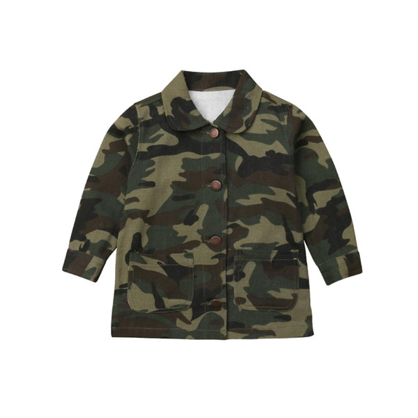 Girls Spring And Autumn Camouflage Jacket Children Kids Button Long Sleeve Coat Warm Outerwear Suitable For 2-8 Years Old New