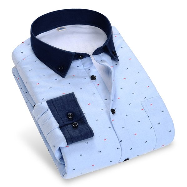 Winter Men Warm Dress Shirts Long Sleeve Fish Bone Printed Patchwork Button-down Collar Thick With Velvet Men Thick Casual Shirt