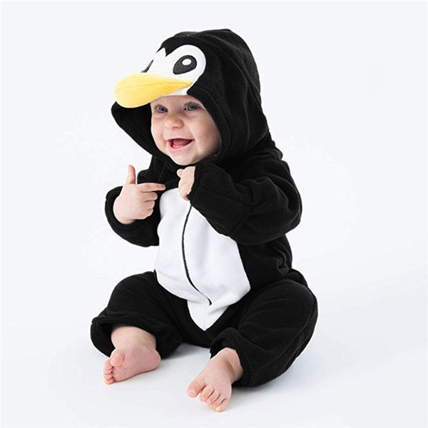Baby Romper Newborn Baby costume Infant Boy Girl Long Sleeve Cartoon Warm Zipper Hoodie Jumpsuit Romper Clothes baby clothes D21