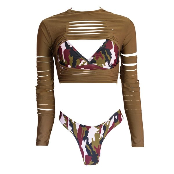 Summer Women Swimwear 3 Pieces Ripped Long Sleeve Camouflage Bikini High Leg Cut Swimsuits High Waist Female Bath Suit