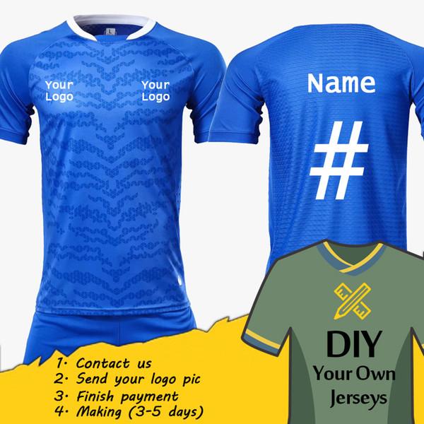 Benutzerdefinierte Fußball Trikots personalisieren Fußball Shirt Blank Plain Soccer Set DIY Ihr eigenes Team Kit anpassen Shirt Uniformen YJ1704