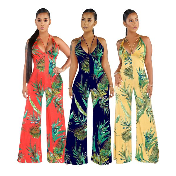 HISIMPLE 2019 Fashion women new summer leaf print spaghetti strap sexy sleeveless straight long jumpsuit streetwear fashion romper playsuit