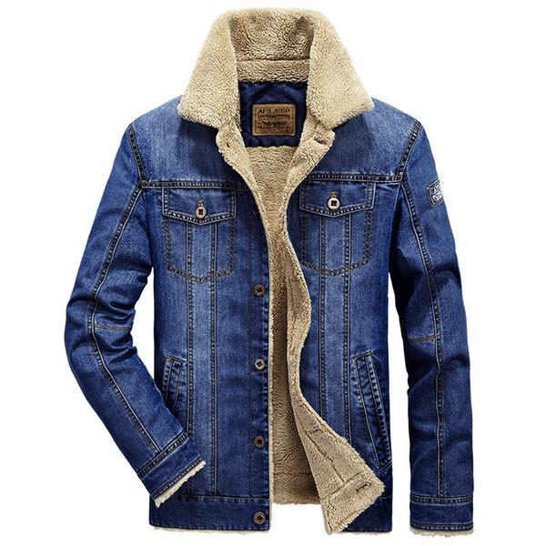 Chaquetas y abrigos de los hombres ropa de marca chaqueta de mezclilla Moda para hombre chaqueta de jeans gruesa cálida invierno outwear vaquero masculino 5 color M-4XL