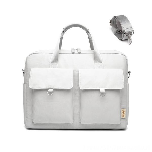 Doble hombro del ordenador portátil de bolsillo bolsa (gris)