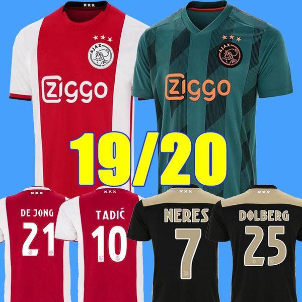 2019 Ajax FC Fußball Trikot DE JONG TADIC ZIYECH DOLBERG HUNTELAAR HERREN KINDER top Thailand 19/20 Niederlande Meister Fußball Trikot S-XL