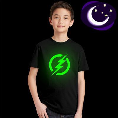 Ins Latest Baby Ropa para niños Summer Boy Black Led Light luminoso Banda de rock Light in Dark camisa Diseño Princess Party Funny T-shirt