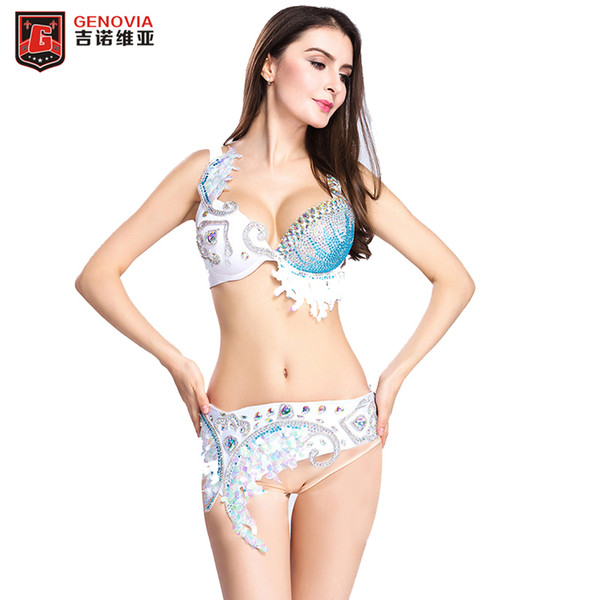 2018 Women Belly Dance Costume Oriental 2 Pieces Set Bra+Belt Dance Performance Clothes Eastern Style Beaded Outfits S M L