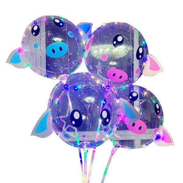 2019 День святого валентина LED BOBO Balloon Мультфильм Piggy Воздушные Шары с Палки Светящиеся Шары Шаров на День Рождения Свадьба Поставки 7 Цветов