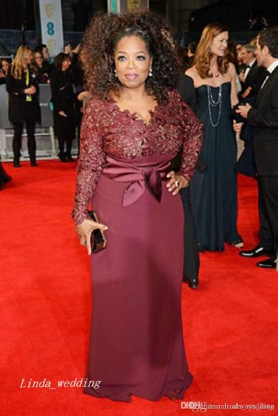 Burgundy Red Carpet Evening Dress Long Sleeves Lace Party Dress Formal Celebrity Inspired Event Gown Plus Size vestido de festa 2019