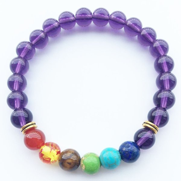 Fashionable Natural Stone Love Purple Bead Bracelet Retro Charm Round Chain Bead Bracelet Jewelry For Female Friends Gifts