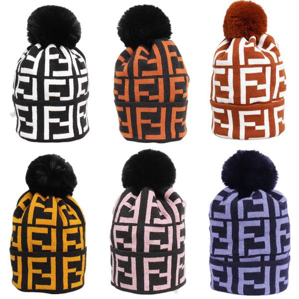 Ff letter women winter wool cap brand fend knitted fur pom hat girl ladie warm beanie luxury cable louchy kull de igner cap c72301, Yellow