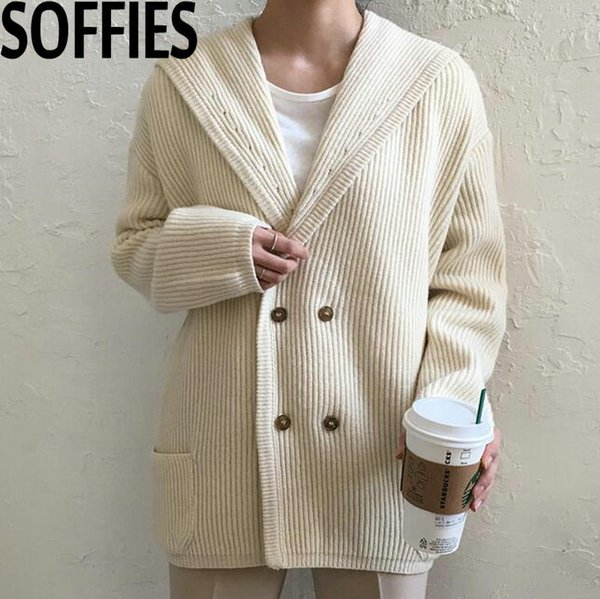 chic thicken twist knitting cardigans korean vintage style double breasted knitted ponchos winter sweater beige khaki