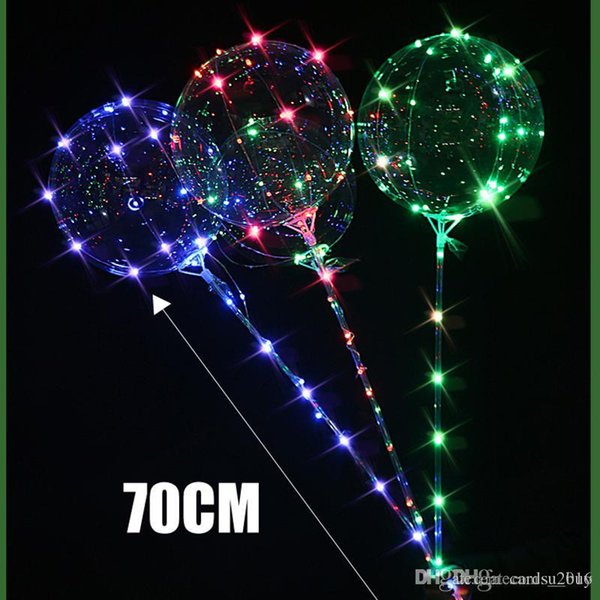 top popular 2018 Luminous LED Balloons With Stick Giant Bright Balloon Lighted Up Balloon Kids Toy Birthday Party Wedding Decorations 2020