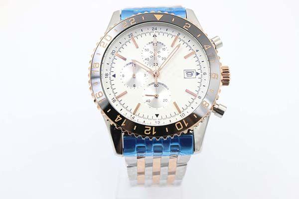 Reloj de cuarzo certificado para hombres con cronómetro, cara lechosa, esqueleto de platino, cinturón de acero inoxidable completo, número árabe, bisel, reloj masculino, relogio